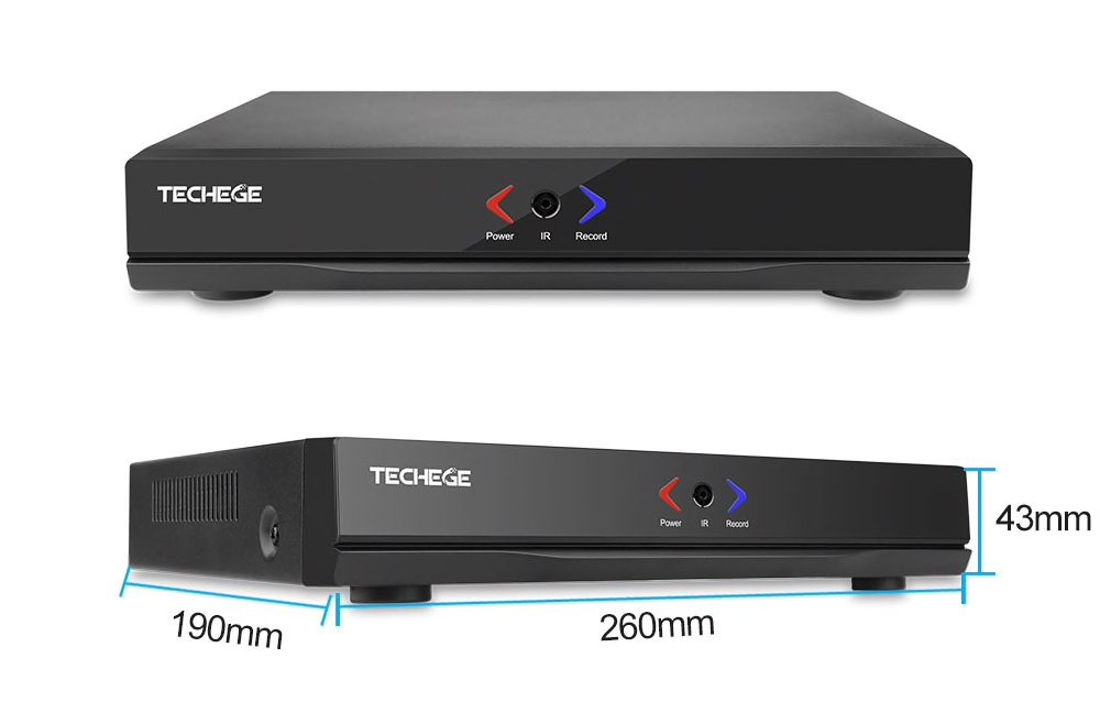 PoE Övervakningssystem 4 kanaler Techege 1080P 4 Kameror 1TB