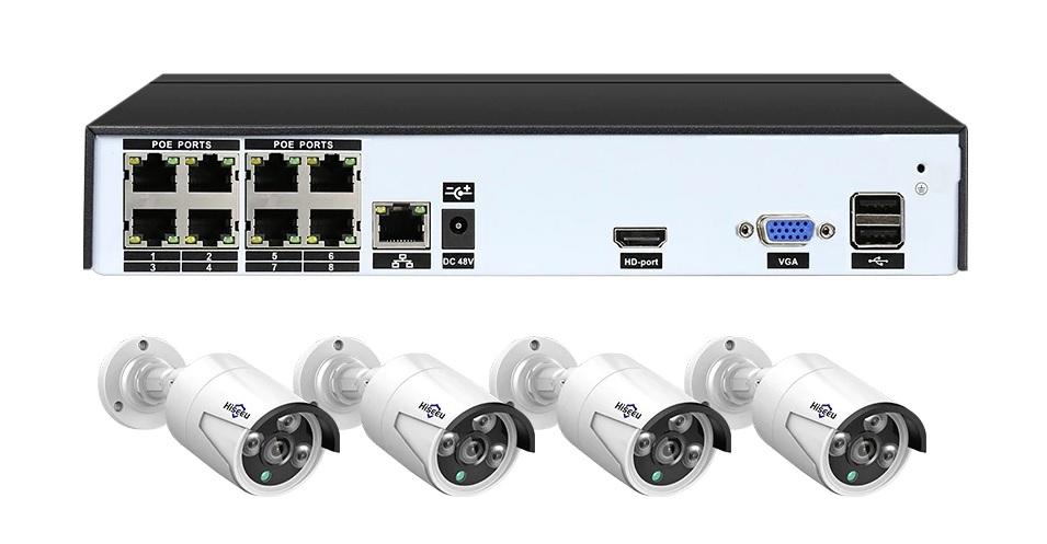 PoE Övervakningssystem 8 kanaler Hiseeu 1080P 4 Kameror 1TB