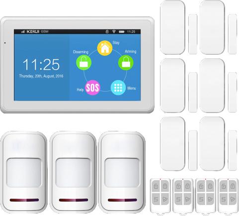 KERUI Komplett Wi-Fi GSM Trådlöst Hemlarm PIR-rörelsedetektor