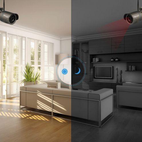 Techage Övervakningssystem 2st trådlösa IP-kameror, Wi-fi NVR-kit 720P
