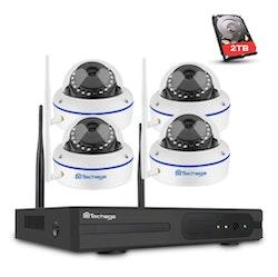 TECHAGE WiFi övervakningssystem 4st kameror 1080P IP66