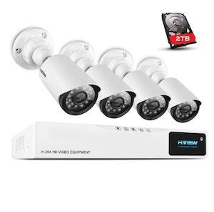 H.VIEW övervakningssystem 720P 4 kameror IP66 2TB