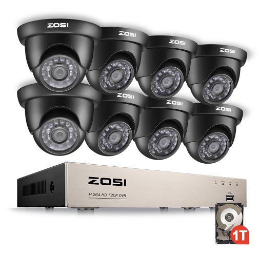 ZOSI Övervakningspaket 8st kameror 720P Vattentålig 2TB