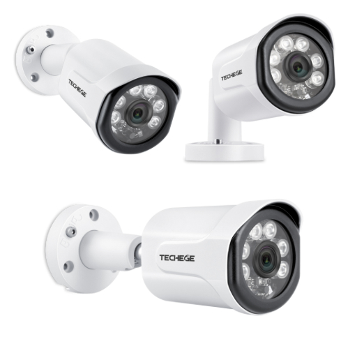 Techege PoE Övervakningssystem 1080P 4 Kameror IP66 4MP + 2TB