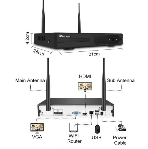 Techage 1080p HD Övervakningssystem 4 st trådlösa IP-kameror, Wi-fi NVR-kit 2TB