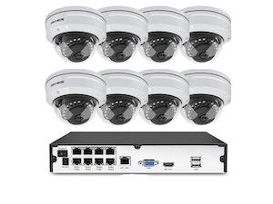 Komplett PoE Övervakningssystem Techege 1080P 8 Kameror 2TB