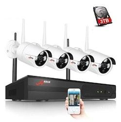 ANRAN Övervakningssystem trådlösa IP-kameror, Wi-fi NVR-kit 1080P 3TB