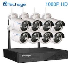 Techage 1080p HD Övervakningssystem 8st trådlösa IP-kameror Wi-fi NVR-kit