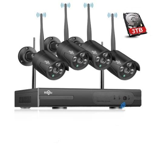 HISEEU Komplett Övervakningssystem 4st trådlösa IP-kameror 960P Vattentäta 3TB