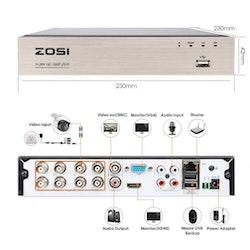 ZOSI Övervakningspaket 8st kameror 720P Vattentålig 3TB