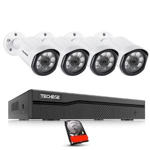 Techege PoE Övervakningssystem 1080P 4 Kameror IP66 4MP + 3TB
