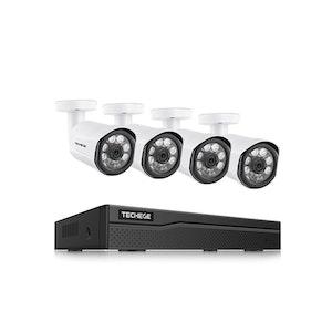 Techege PoE Övervakningssystem 1080P 4 Kameror IP66 2MP 3TB