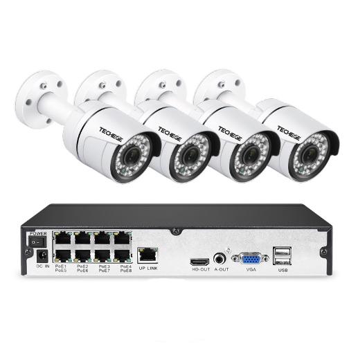 PoE Övervakningssystem 8 kanaler Techege 1080P 4 Kameror Mikrofon 3TB