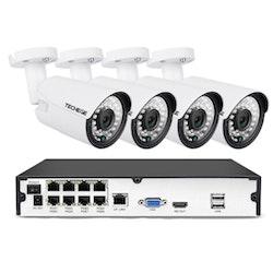 Komplett PoE Övervakningssystem 8 kanaler Techege 1080P 4 Kameror 3TB