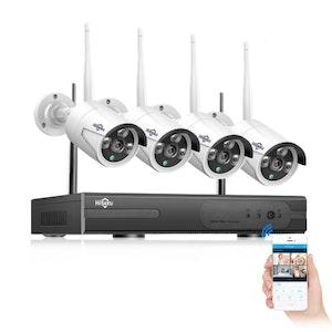 HISEEU Komplett Övervakningsset 4st Wifi kameror 960P IP66 3TB