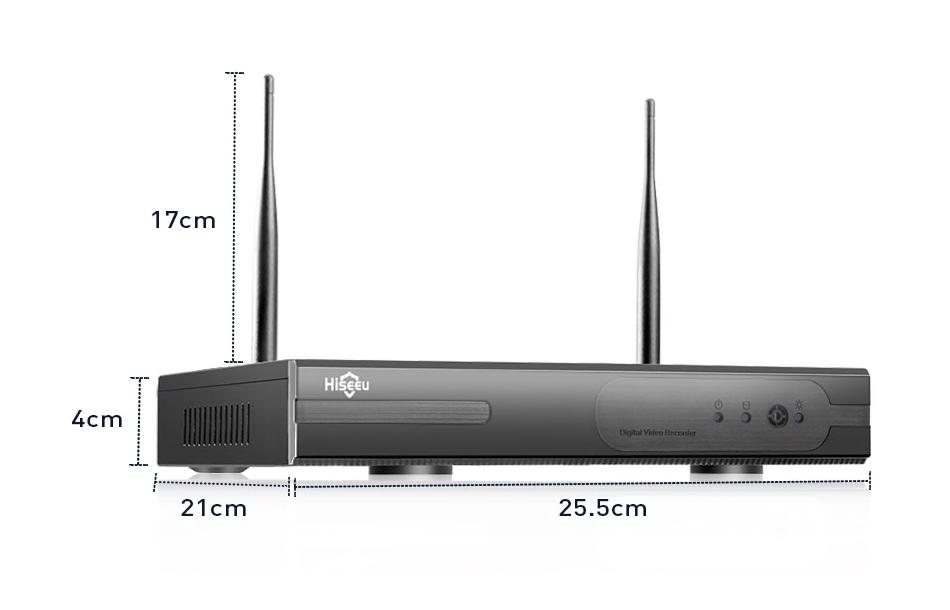 HISEEU Komplett Övervakningssystem 4st trådlösa IP-kameror 1080P IP66 3TB