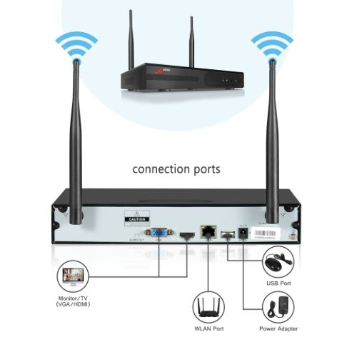 ANRAN Övervakningssystem Wi-fi NVR 1080P HD 3TB