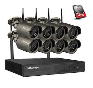 Techage 960p HD Övervakningssystem 8 st trådlösa IP-kameror, Wi-fi NVR-kit