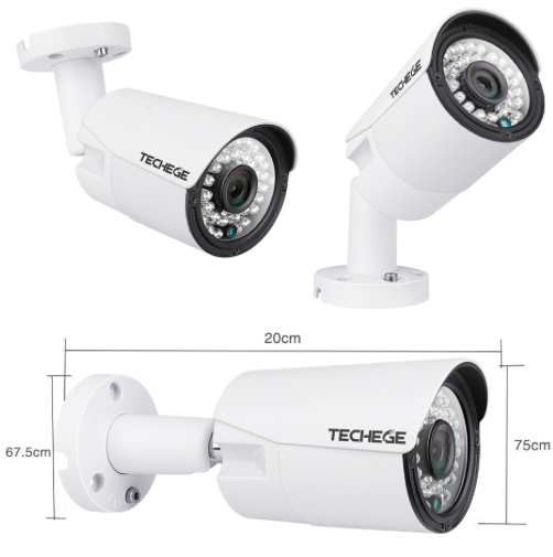 Komplett PoE Övervakningssystem Techege 1080P 2 Kameror
