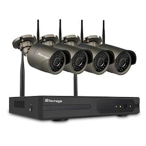 Techage 720p HD Övervakningssystem 4 st trådlösa IP-kameror, Wi-fi NVR-kit 4TB
