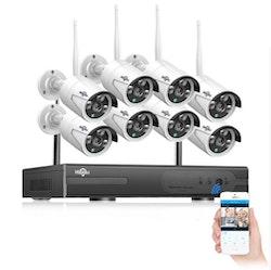 HISEEU Komplett Övervakningssystem 8st WiFi IP-kameror 1080P 4TB