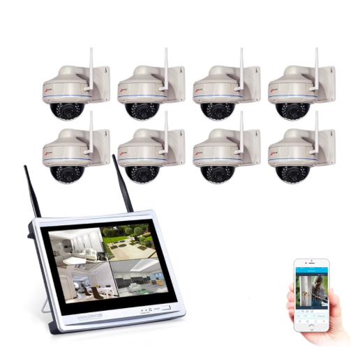 ANRAN Övervakningssystem 960P LCD skärm 8 dome kameror