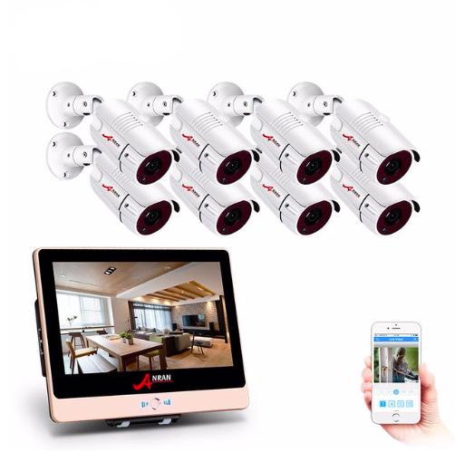 ANRAN PoE Övervakningssystem 8 st kameror 1080P IP66 LCD skärm