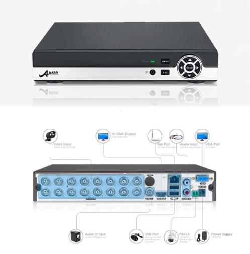 ANRAN övervakningssystem 16 st kameror 720P IP66 1TB