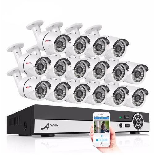 ANRAN övervakningssystem 16 st kameror 720P IP66 3TB