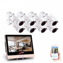 ANRAN PoE Övervakningssystem 8 st kameror 1080P IP66 LCD skärm 4TB