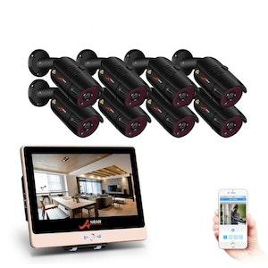 ANRAN PoE Övervakningssystem 8 st kameror 1080P IP66 LCD-skärm 2TB