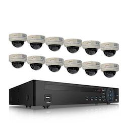 ANRAN PoE Övervakningssystem 12 st kameror 5MP IP66 Dome 3TB