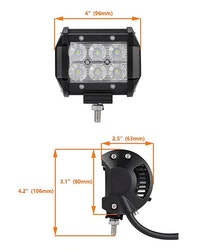 LED Extraljus 18W Flood-ljus 2-pack