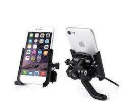 Universalhållare Mobil Cykel MC Spegelhållare Laddare Iphone