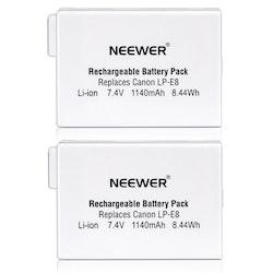 NEEWER Uppladdningsbart batteri 2pack LP-E8 Li-ion BG-E8 CANON 550D 600D