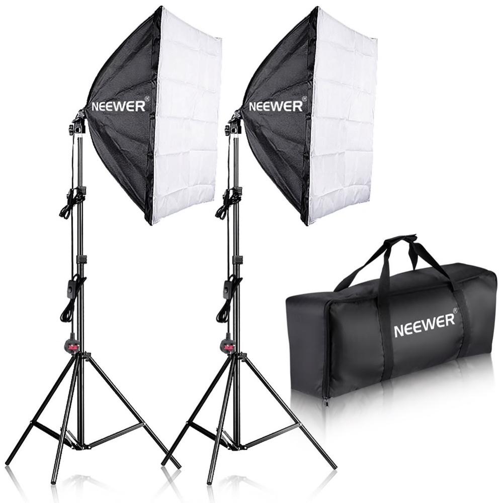 NEEWER Softbox 60x60 studiobelysning 2-Pack komplett E27