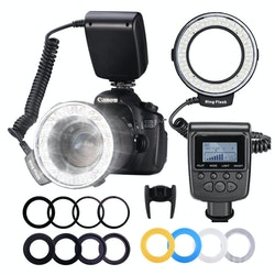 NEEWER Ringblixt LED LCD-display Nikon Canon Panasonic Pentax