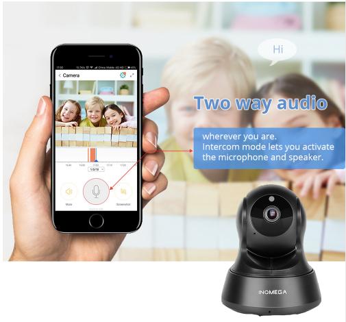INQMEGA Trådlös Övervakningskamera 720P svart 32 GB