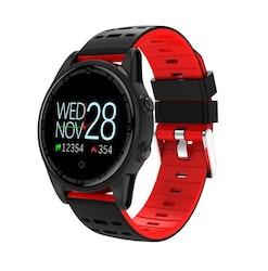 Smartklocka pulsklocka fitness tracker aktivitetsarmband röd