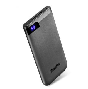Powerbank slim portabel laddare telefon USB 10000 mAh svart