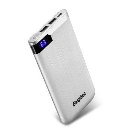 Powerbank slim portabel laddare telefon USB 10000 mAh silver Sumodeal