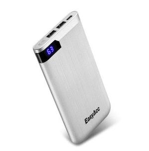 Powerbank slim portabel laddare telefon USB 10000 mAh silver