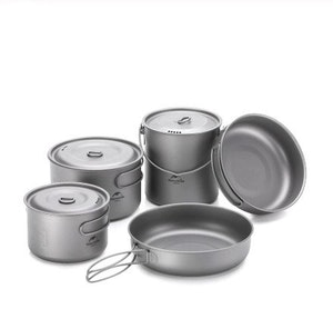 Camping backpacking kokkärl komplett set titanium