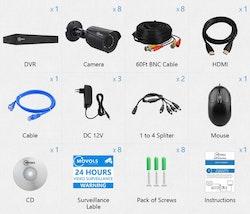 Movols analog övervakningssystem 8 kameror 1080P APP