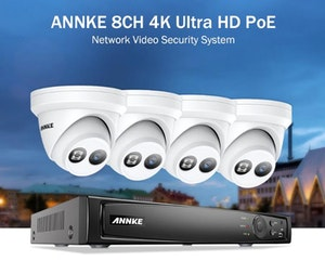 ANNKE 4K Övervakningssystem POE 4-set 8MP Dome 2TB *NYHET*