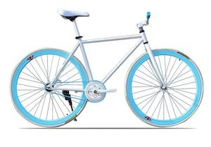 Fixed Gear Cykel vit/blå