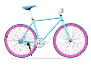 Fixed Gear Cykel blå/rosa