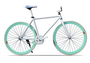 Fixed Gear Cykel vit/turkos