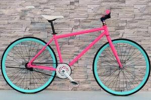 Fixed Gear Cykel rosa/turkos