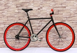 Fixed Gear Cykel svart/röd